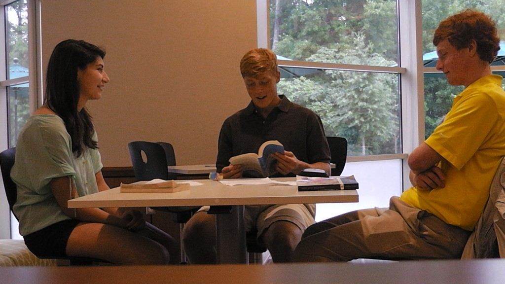Students discuss their summer reading