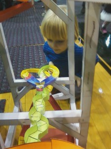 Joe checks out the paper roller coaster