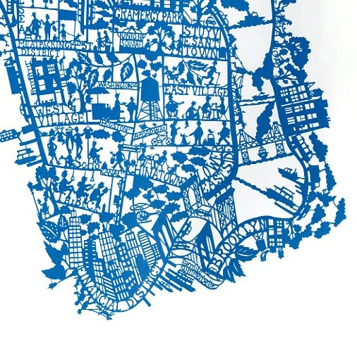 Paper cut map of New York by